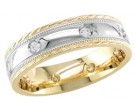 Diamond Wedding Band 14K Two Tone Gold 0.16 cts. DWB-2760