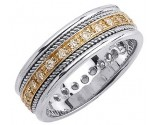 Diamond Wedding Band 14K Two Tone Gold 0.62 cts. DWB-2763