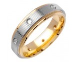 Diamond Wedding Band 14K Two Tone Gold 0.16 cts. DWB-2765