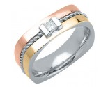 Diamond Wedding Band 14K Tri Color Gold 0.18 cts. DTCWB-3012