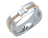 Diamond Wedding Band 14K Two Tone Gold 0.18 cts. DTTWB-3012A