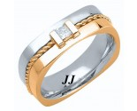 Diamond Wedding Band 14K Two Tone Gold 0.18 cts. DTTWB-3012C