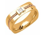 Diamond Wedding Band 14K Two Tone Gold 0.18 cts. DTTWB-3012D