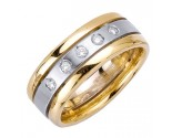Diamond Wedding Band 14K Two Tone Gold 0.25 cts. DWB-3154