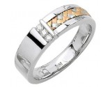Diamond Wedding Band 14K Tri Color Gold 0.09 cts. DWB-3253