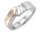 Diamond Wedding Band 14K Tri Color Gold 0.09 cts. DWB-3255C