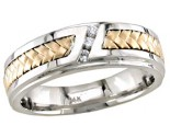 Diamond Wedding Band 14K Two Tone Gold 0.09 cts. DWB-3257
