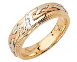 Diamond Wedding Band 14K Tri Color Gold 0.09 cts. DWB-3259A