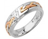 Diamond Wedding Band 14K Tri Color Gold 0.09 cts. DWB-3259B