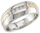 Diamond Wedding Band 14K Two Tone Gold 0.16 cts. DWB-3351
