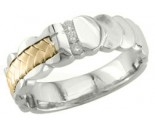 Diamond Wedding Band 14K Two Tone Gold 0.09 cts. DWB-3352