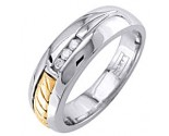 Diamond Wedding Band 14K Two Tone Gold 0.09 cts. DWB-3353