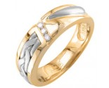 Diamond Wedding Band 14K Two Tone Gold 0.09 cts. DWB-3355