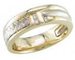 Diamond Wedding Band 14K Two Tone Gold 0.09 cts. DWB-3356