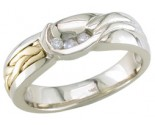 Diamond Wedding Band 14K Two Tone Gold 0.09 cts. DWB-3358