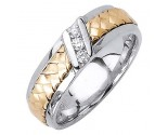 Diamond Wedding Band 14K Two Tone Gold 0.09 cts. DWB-3359A