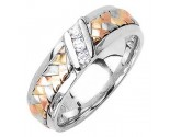 Diamond Wedding Band 14K Tri Color Gold 0.09 cts. DWB-3359B