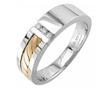 Diamond Wedding Band 14K Two Tone Gold 0.09 cts. DWB-3360