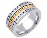 Diamond Braided Wedding Band 14K Two Tone Gold 1.75 cts. DWB-3460