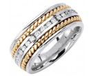 Diamond Braided Wedding Band 14K Two Tone Gold 0.88 cts. DWB-3461