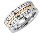 Diamond Braided Wedding Band 14K Two Tone Gold 1.75 cts. DWB-3462