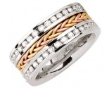 Diamond Braided Wedding Band 14K Tri Color Gold 1.75 cts. DWB-3463