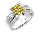 Ladies Diamond Canary Ring 14K White Gold 1.10 cts. A62-R0057-WY