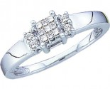 Ladies Diamond Engagement Ring 14K White Gold 0.15 cts. GD-10831