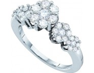 Ladies Diamond Cluster Ring 14K White Gold 1.00 ct. GD-18659