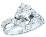 Ladies Diamond Engagement Ring 14K White Gold 2.00 ct. GD-40069