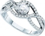 Ladies Diamond Engagement Ring 14K White Gold 0.66 cts. GD-45571