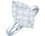 Ladies Diamond Engagement Ring 14K White Gold GD-47552