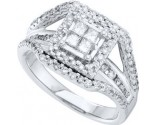 Ladies Diamond Engagement Ring 14K White Gold 1.00 ct. GD-52329