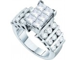 Ladies Diamond Engagement Ring 14K White Gold 3.00 ct. GD-52366