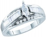 Ladies Diamond Engagement Ring 14K White Gold 0.50 cts. GD-52373