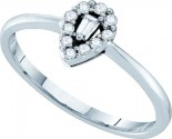 Ladies Diamond Engagement Ring 14K White Gold 0.14 cts. GD-52922