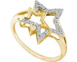 Ladies Diamond Star Ring 10K Yellow Gold 0.09 cts. GD-55533