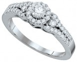Ladies Diamond Engagement Ring 14K White Gold 0.55 cts. GD-65402