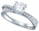 Diamond Engagement Ring 14K White Gold 1.30 cts. GD-70305