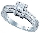 Ladies Diamond Engagement Ring 14K White Gold 0.52 cts. GD-75240