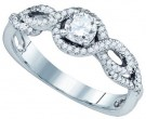 Ladies Diamond Engagement Ring 14K White Gold 0.57 cts. GD-77077