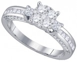 Ladies Diamond Engagement Ring 18K White Gold 0.96 ct. GD-78527