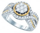 Diamond Engagement Ring 10K Two Tone Gold 0.99 cts. GD-79332