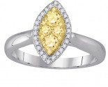 Yellow Diamond Engagement Ring 14K White Gold 0.50 cts. GD-87730