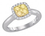 Yellow Diamond Engagement Ring 14K White Gold 0.48 cts. GD-87748
