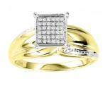 Diamond Engagement Ring 10K Two Tone Gold 0.10 cts. GS-21717