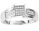 Diamond Engagement Ring 10K White Gold 0.10 cts. GS-21777