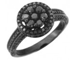Diamond Engagement Ring 10K Gold Black Rhodium KCR3034