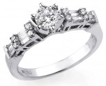 Diamond Engagement Ring 18K White Gold 0.88 cts S2222A