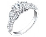 Ladies Diamond Ring 18K White Gold 1.30 cts. S49-9
